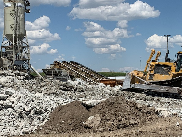 Construction site at Milwaukee Mitchell showing recycled concrete aggregates